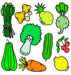 Hand draw doodle vegetable set vector