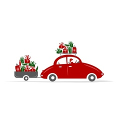 Man driving red car with gift boxes vector image