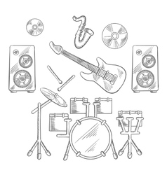 Musical band instruments sketches set vector