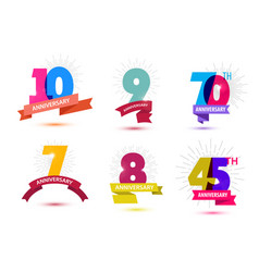set of anniversary numbers design 10 9 vector image vector image