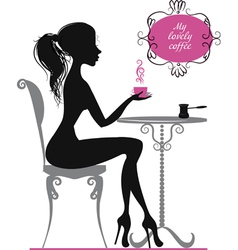 Silhouette of a girl with cup of coffee vector image vector image