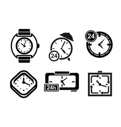 Clock and timer icons set vector image vector image