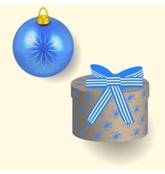 in blue colors Christmas gift vector image vector image