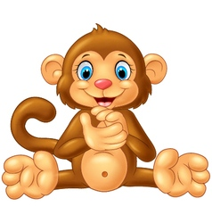 Cartoon cute monkey sitting on white background vector image vector image