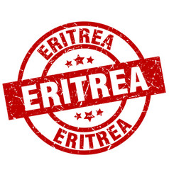 eritrea red round grunge stamp vector image