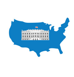 white house on map of america residence of vector image