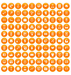 100 partnership icons set orange vector