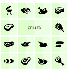14 grilled icons vector