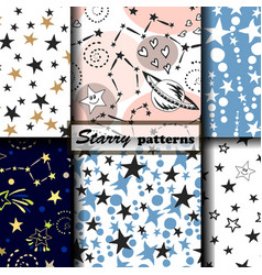 4 starry patterns vector