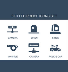 6 police icons vector