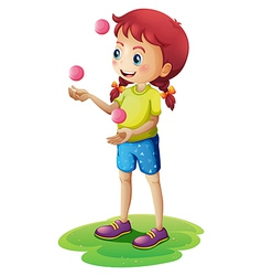 A young girl juggling vector image