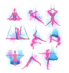 Aero yoga watercolor icons vector