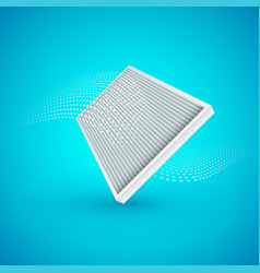 Air filter with flow on blue background vector
