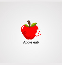 apple eat with nature leaf logo icon element and vector image