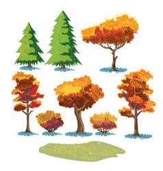 autumn plants sketch mini set vector image