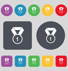 Award medal icon sign A set of 12 colored buttons vector