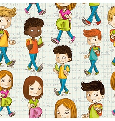 Back to School Cartoon kids education seamless vector image
