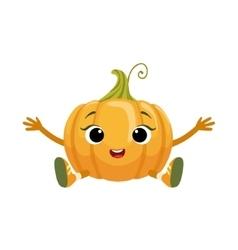Big Eyed Cute Girly Pumpkin Character Sitting vector