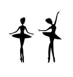 Black silhouette ballerina ballet dancer vector