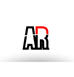 Black white alphabet letter ar a r logo icon vector
