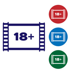 Blue play video with inscription 18 plus icon vector