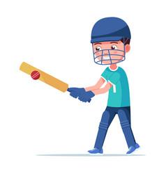 boy cricket player bounces ball bat vector image