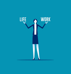 Business woman holding life and work balance vector
