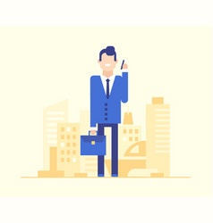Businessman speaking on the phone - modern flat vector