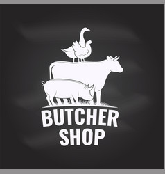 butcher shop badge or label with cow beef pork vector image