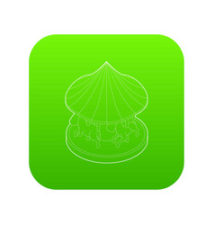 carousel with horses icon green vector image
