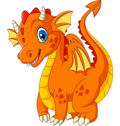 Cartoon little dragon isolated on white background vector