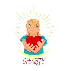 Charity heart in the hands vector