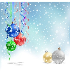 christmas bauble snow ribbon vector image