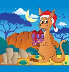 Christmas kangaroo theme image 2 vector