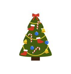 christmas tree with decoration vector image