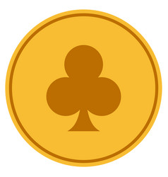 clubs suit gold coin vector image