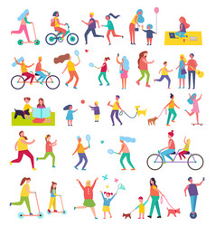 Couple running and riding bike vector