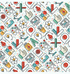 creative seamless pattern with thin line icons vector image