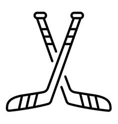 Crossed hockey stick icon outline style vector