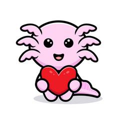 Cute oxolotl holding heart cartoon character vector