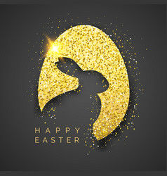 easter black background with realistic golden egg vector image