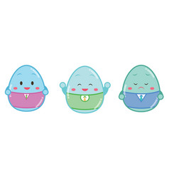 easter painted eggs with face different emotions vector image