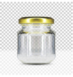 empty round glass jar with gold screw cap vector image