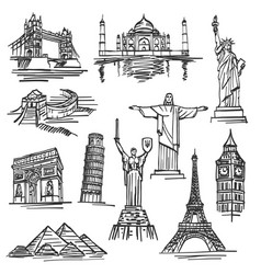 Exercise book sketch of hand drawn tourist places vector