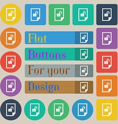 File unlocked icon sign set of twenty colored flat vector