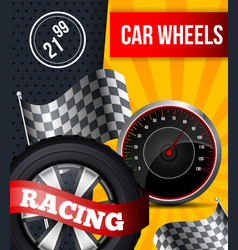 Flat banner car wheels racing booklet flier vector