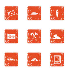 Forest rush icons set grunge style vector
