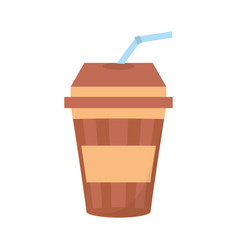 Fresh beverage plastic cup straw vector