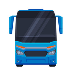 Front view blue bus public transportation vector