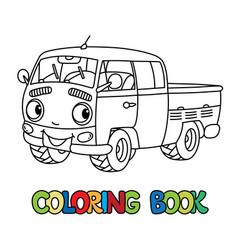 Funny small retro pickup car or van coloring book vector